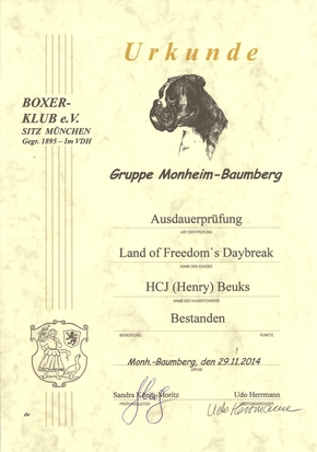 AD (Ausdauer) diploma voor Land of Freedom's Daybreak