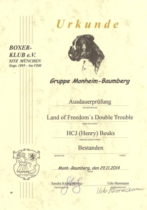 AD (Ausdauer) diploma voor Land of Freedom's Double Trouble